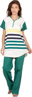 Hautewagon Women's Self Design Green Top & Pyjama Set