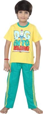 Purple Baby Boy's Graphic Print Yellow Top & Pyjama Set