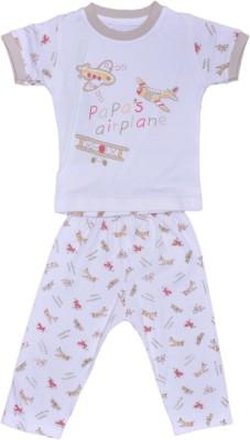 Johny Johny Yes Papa Baby Boy,s Self Design Beige, White Top & Pyjama Set