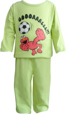 Teddy's Choice Boy's Solid Green Top & Pyjama Set