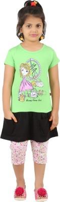 SPN Garments Girl,s Graphic Print Green, Pink, Black Top & Capri Set