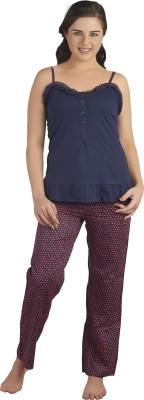 SOIE Women's Polka Print Blue Top & Pyjama Set
