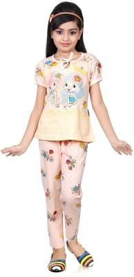 Chocoberry Strawberry Girl's Printed Pink Top & Pyjama Set
