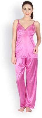 Oleva Women's Self Design Pink Top & Pyjama Set