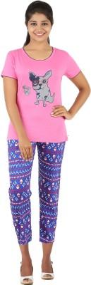 Gallop Women's Printed Pink Top & Capri Set