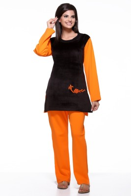 Dove Women's Printed Orange, Black Top & Pyjama Set