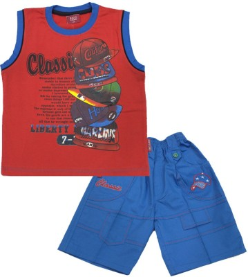 Kid's Care Boy's Printed Red Top & Shorts Set