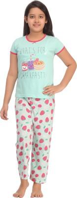 Kanvin Girl's Printed Green Top & Pyjama Set