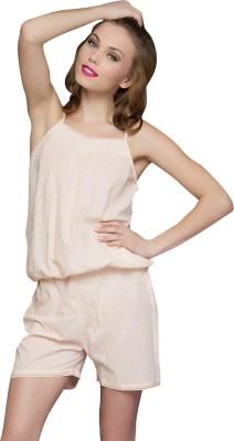 Clovia Cotton Rose Blush Women's Solid Beige Top & Shorts Set