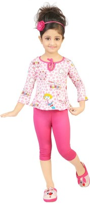 Koolkids Baby Girl's Printed Pink Top & Pyjama Set
