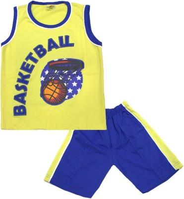 Kid's Care Boy's Printed Yellow, Dark Blue Top & Shorts Set