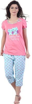New Darling Women's Printed Pink, Blue Top & Capri Set