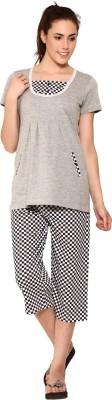 Softwear Women's Printed Black Top & Capri Set