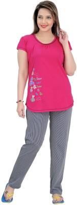 Mint Women,s Striped Pink Top & Pyjama Set