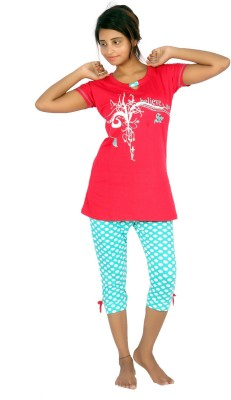 F FASHIONSTYLUS Women's Printed Red, Blue Top & Capri Set
