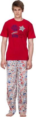 Nuteez Men's Printed Red Top & Pyjama Set