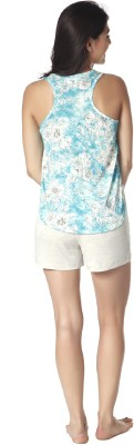 Mystere Paris Women's Printed Blue Top & Shorts Set