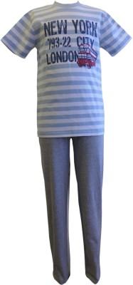 Junior Boxer Boy's Graphic Print Grey, Blue Top & Pyjama Set