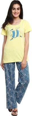 Softwear Women's Self Design Yellow Top & Pyjama Set