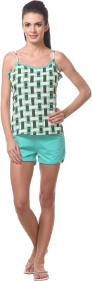 Tweens Women's Printed Green Top & Shorts Set