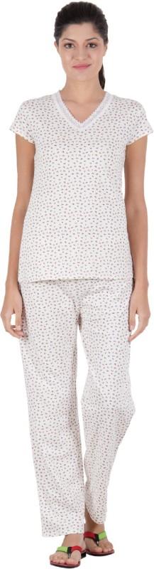 Serenity Women's Printed Multicolor Top & Pyjama Set