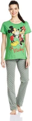 Disney by July Comfy Cotton Designer Two Piece Women's Printed Grey, Green Top & Pyjama Set