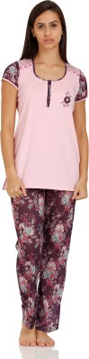 Squirrel Women's Printed Maroon Top & Pyjama Set