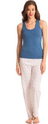 PrettySecrets Women's Polka Print White, Blue Top & Pyjama Set at flipkart