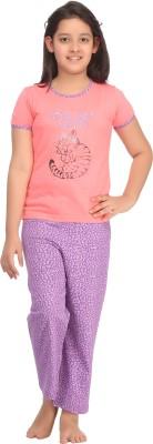 Kanvin Girl's Printed Pink Top & Pyjama Set