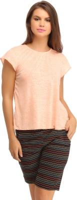 Clovia Women's Printed Orange Top & Shorts Set