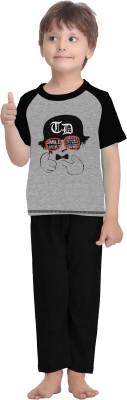 La Dreamz Boy's Printed Grey Top & Pyjama Set