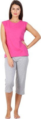 Click Hit Softle Top Payjama set Women's Solid Pink, Grey T-shirt & Three-forth Set