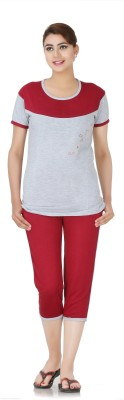 Broche Women's Solid Grey Top & Capri Set