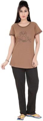 Mint Women,s Solid, Printed Brown Top & Pyjama Set
