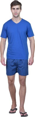 Habitude Men's Solid, Checkered Blue Top & Shorts Set
