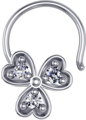 Suvarnadeep Swarovski Crystal Silver Plated Silver Nose Stud