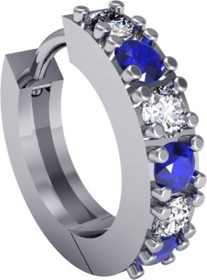 Suvarnadeep Swarovski Crystal White Gold Plated Silver Nose Ring