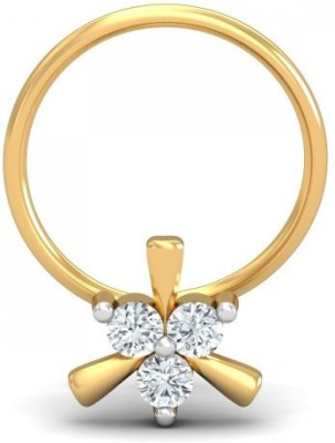 Banashree Jewellers Cubic Zirconia Platinum Plated Sterling Silver Nose Ring