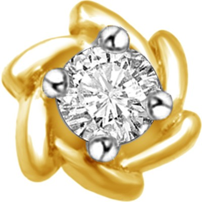 Vijisan 0.14 Ct. Square Shape Solitaire Cubic Zirconia 18K Yellow Gold Plated Sterling Silver Nose Stud at flipkart