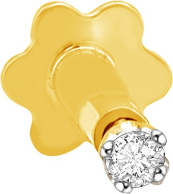 Vijisan 0.02 Ct. Solitaire Prong Set Cubic Zirconia 18K Yellow Gold Plated Sterling Silver Nose Stud
