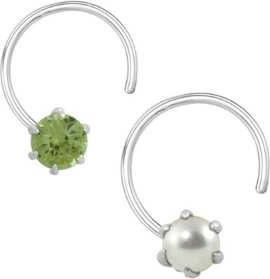 R,Silver,s Zircon Silver Nose Ring Set(Pack of 2)