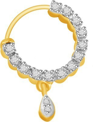 Jaipuriya Jewelry Cubic Zirconia Yellow Gold Plated Sterling Silver Nose Ring