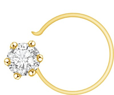 Vijisan 0.10 Ct.Sparkling Single Stone Cubic Zirconia 18K Yellow Gold Plated Sterling Silver Nose Ring