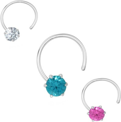 Jaipuriya Jewelry Cubic Zirconia Silver Plated Sterling Silver Nose Stud Set