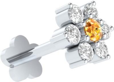 Demira Jewels Flower Stud 14kt Diamond, Citrine White Gold Stud