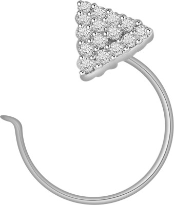 Vijisan Cubic Zirconia 18K White Gold Plated Sterling Silver Nose Stud