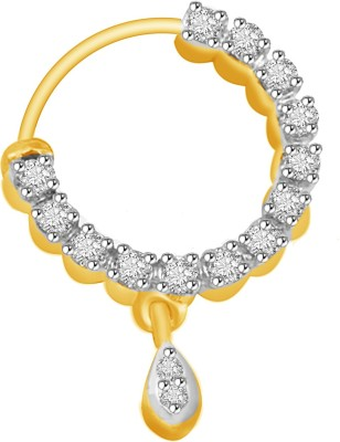 Vijisan Cubic Zirconia 18K Yellow Gold Plated Sterling Silver Nose Ring