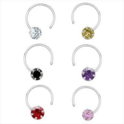 R,Silver,s Zircon Silver Nose Ring Set(Pack of 6)