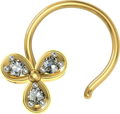 Suvam Jewels Swarovski Crystal Yellow Gold Plated Silver Nose Ring