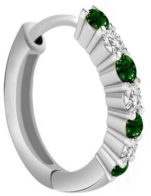 Jaipuriya Jewelry Cubic Zirconia Silver Plated Sterling Silver Nose Ring